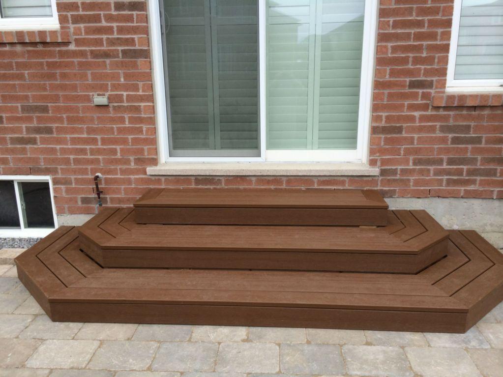 Three tiered , dark brown Trex steps