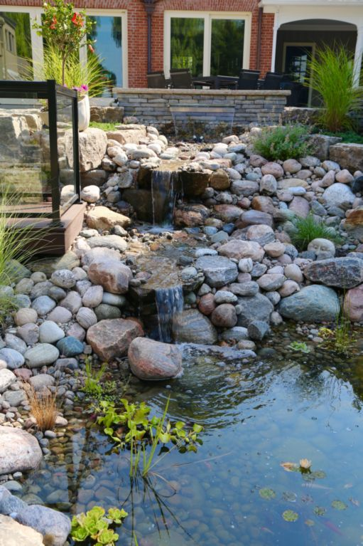 water feature, stone waterfall, natural stone